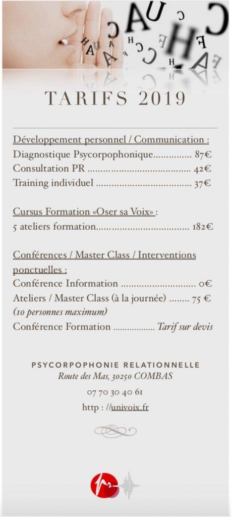 Tarifs psycorpophonie relationnelle